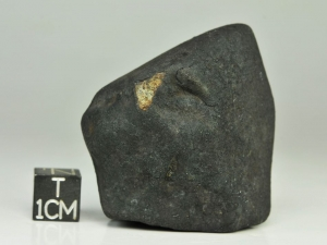 Chelyabinsk LL5 78g, fresh crusted specimen with small broken surface showing slightly weathered interior